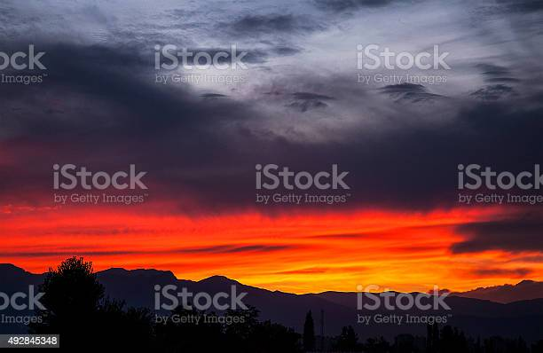 Photo of wonderful sunset and gray clouds