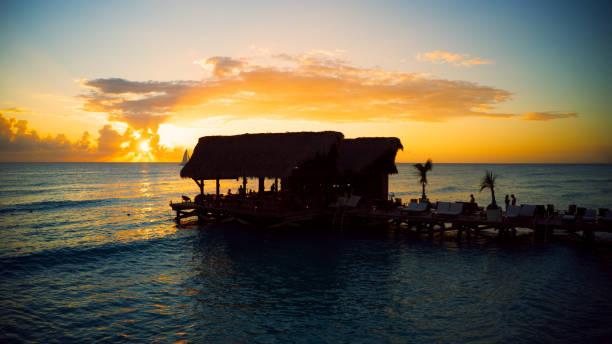 wonderful sunset at the beach stock photo