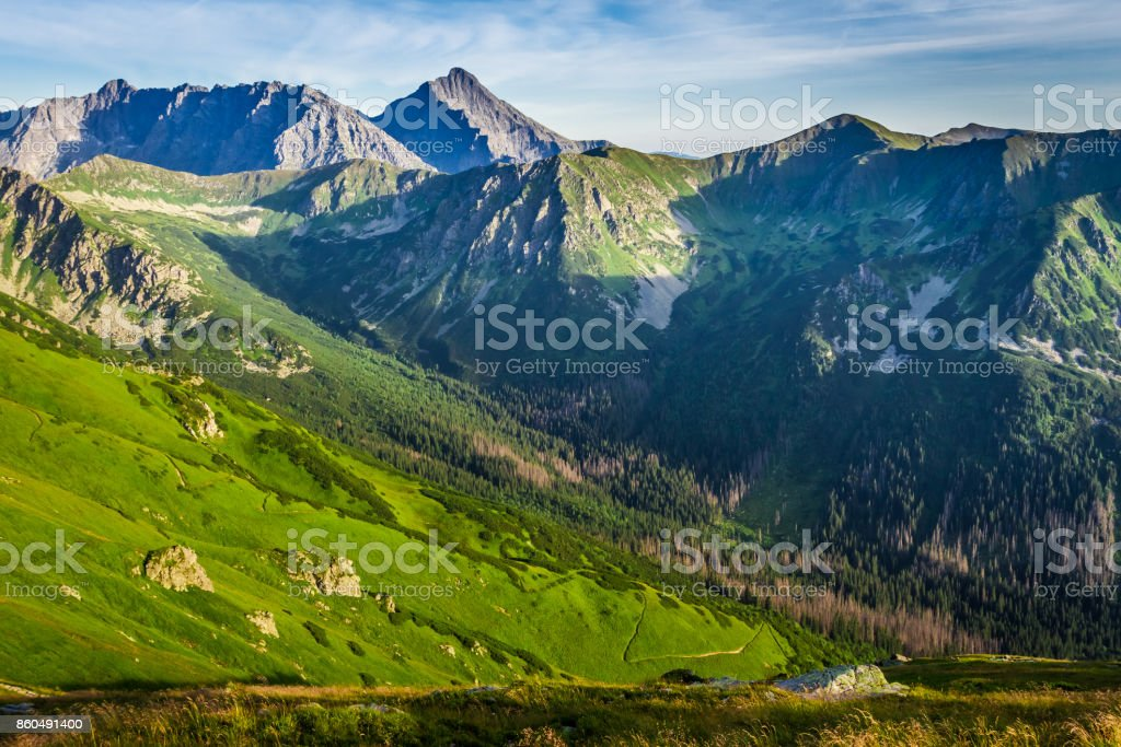 Wonderful sunset in the Tatra Mountains in Poland, Europe stock photo