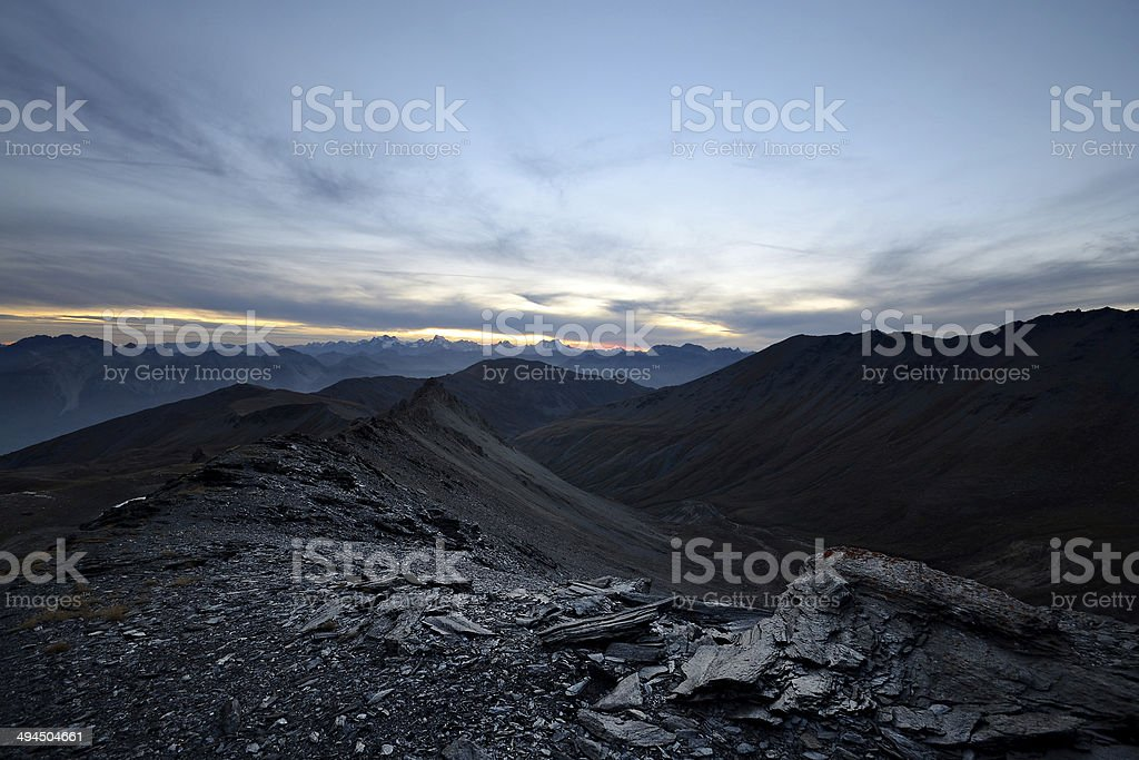 Wonderful sunset light in the Alps stock photo