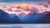 Wonderful sunset summer mountain view of Romsdalfjord near Andalsnes in Norway