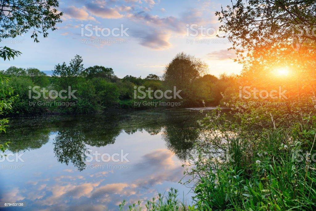 wonderful sunset over the lake. royalty-free stock photo