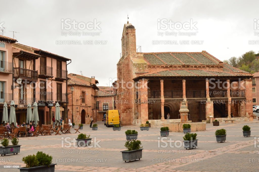 Wonderful Town Square Ayllon Cradle Of The Red Villages In addition Of Beautiful Medieval Village In Segovia. Architecture Landscapes Travel Rural Environment. stock photo