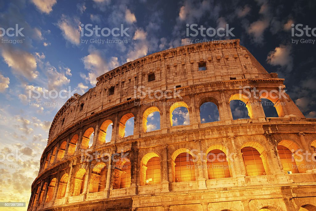 Wonderful view of Colosseum in all its magnificience stock photo