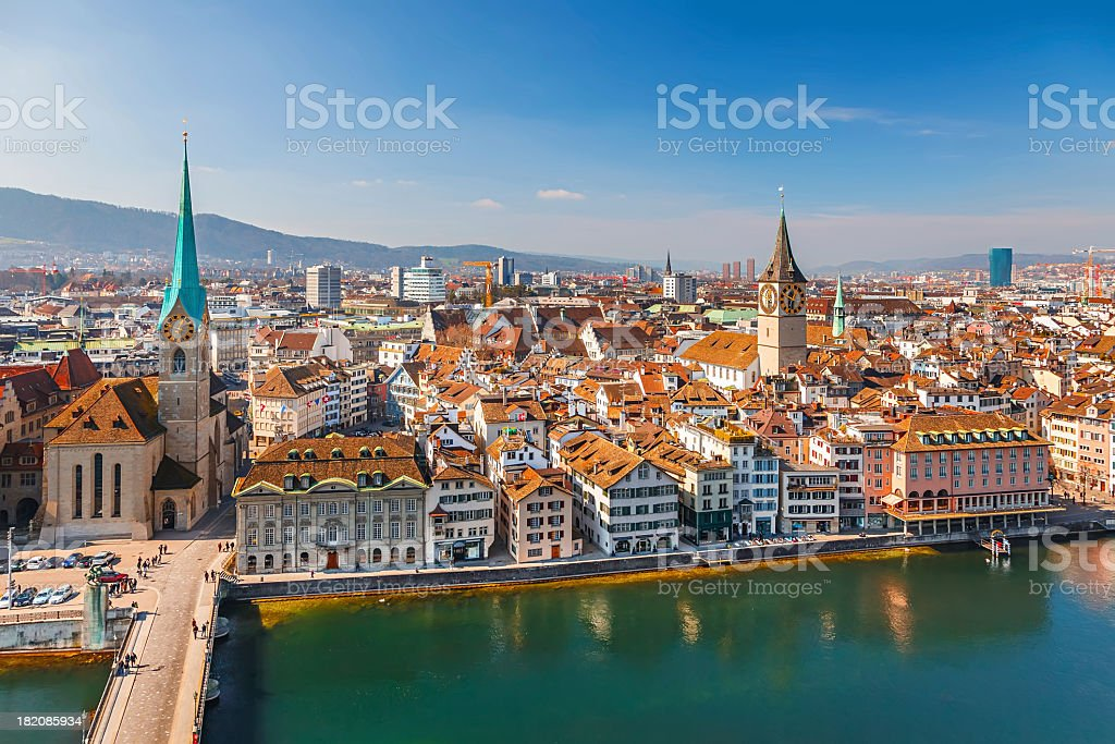 A wonderful view of Zurich in the summer time stock photo