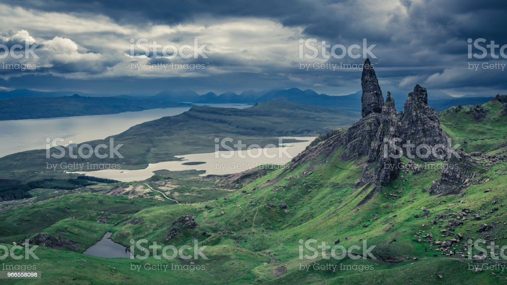 Wonderful view to green Old Man of Storr, Scotland stock photo