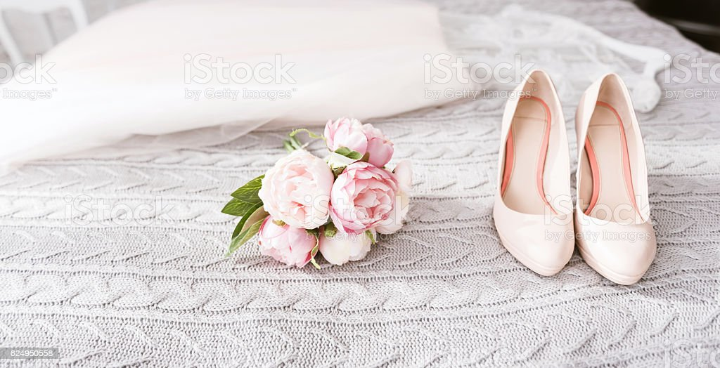 Wonderful wedding high heel shoes stock photo