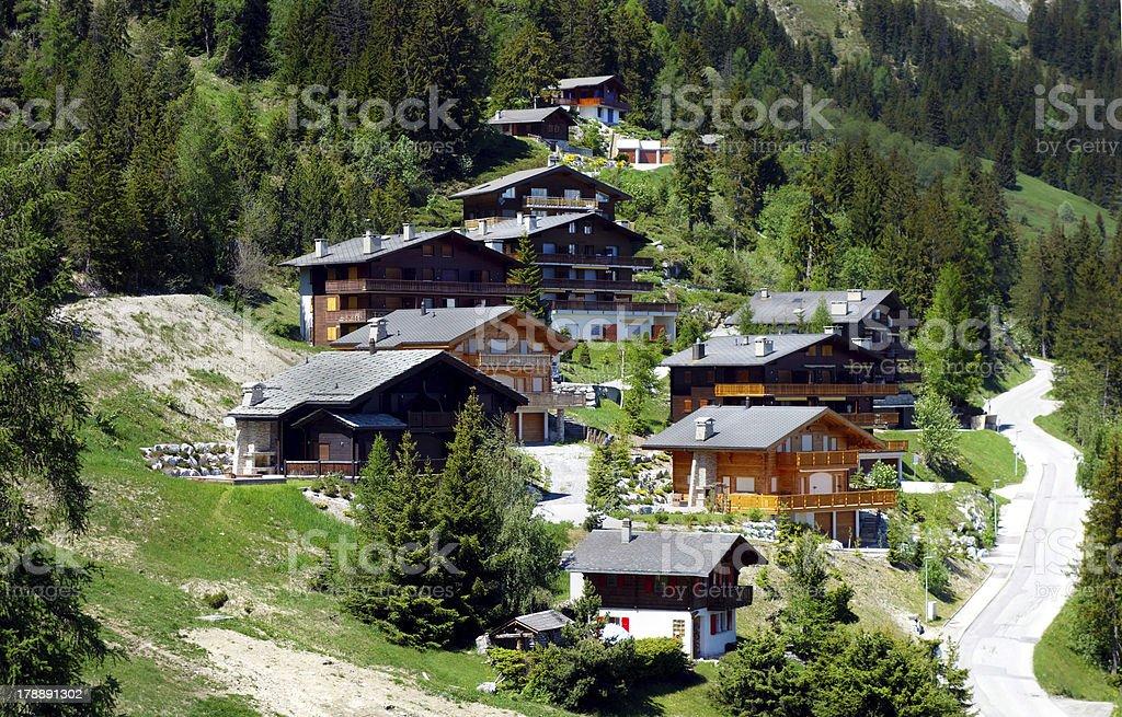 Wonderful wooden houses in Switzerland stock photo