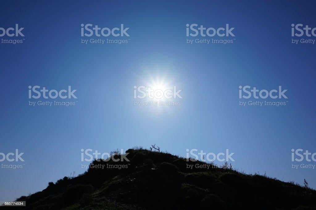 Magnifique lever du soleil sur la colline photo libre de droits