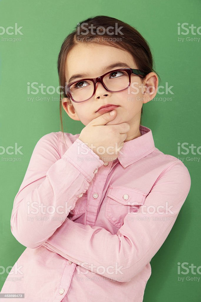 Wondering keeps her wise! stock photo
