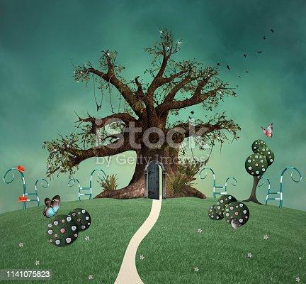 istock Wonderland garden with a surreal tree 1141075823