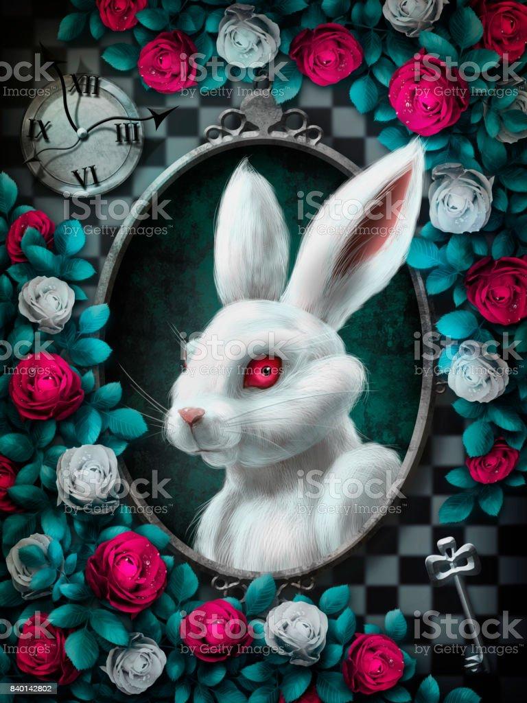 Wunderland weiße Kaninchen – Foto