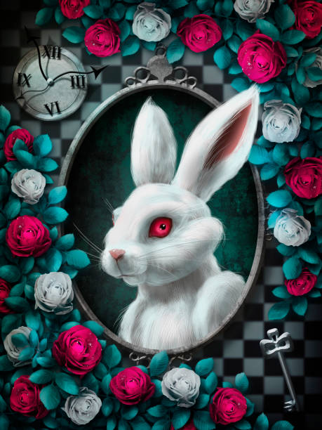 Wonderland White rabbit stock photo