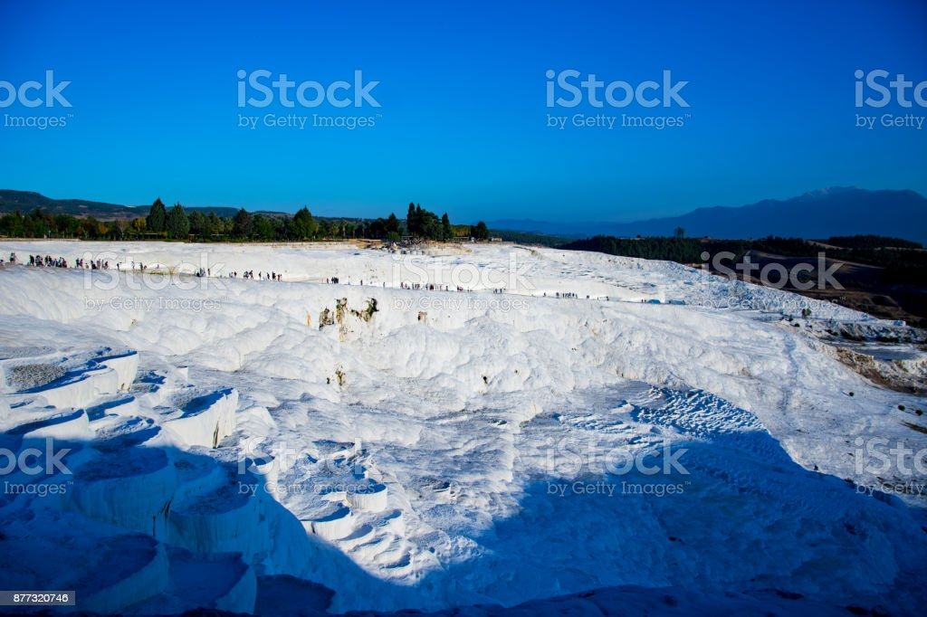 wonderrful view on the white cotton castle and surroundings stock photo