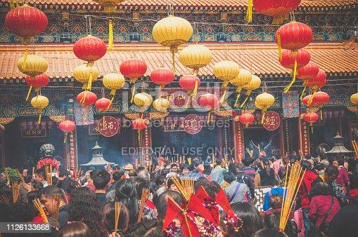 Hongkong, China - Feb 19, 2013 : The local people celebrate Chinese New Year at Wong Tai Sin Temple, Hongkong.
