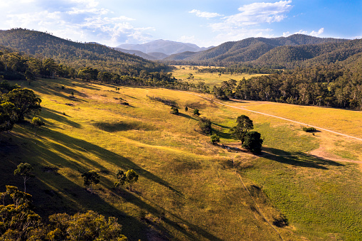 Aerial view at Sunset of the Victorian high country, Wonnongatta Station
