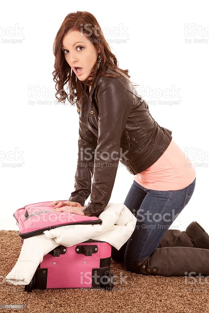 Wont fit in suitcase surprised royalty-free stock photo