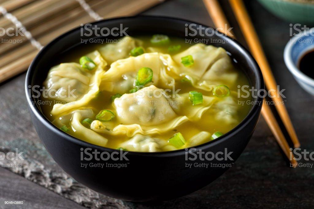 Wonton Soup with Scallions stock photo