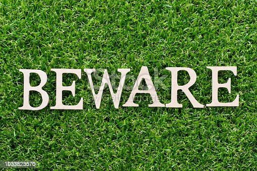 istock Wood alphabet in word beware on artificial green grass background 1033823570