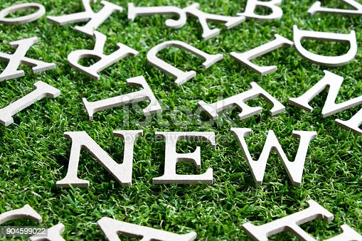 istock Wood alphabet in wording new on artificial green grass background 904599022