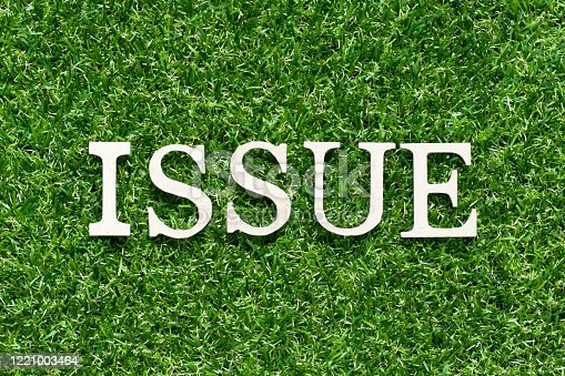 1128981457 istock photo Wood alphabet letter in word issue on artificial green grass background 1221003464