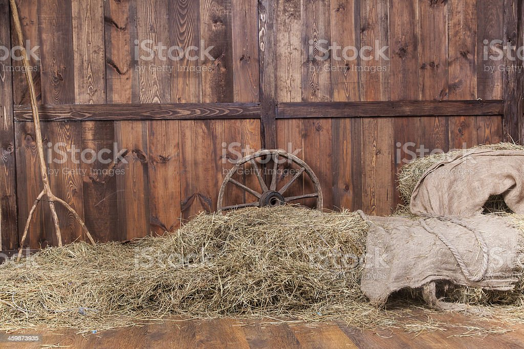 Wood and hay background stock photo