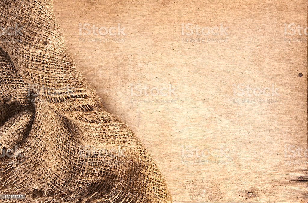 wood and hemp textile royalty-free stock photo