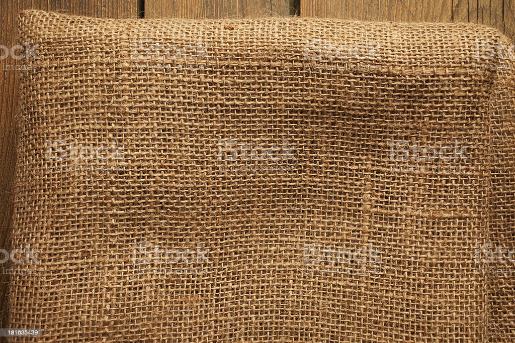 Wood and jute texture royalty-free stock photo