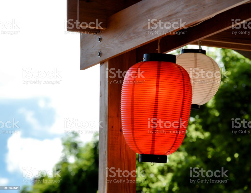 Wood and Lanterns stock photo