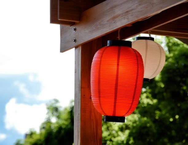 Wood and Lanterns stock photo