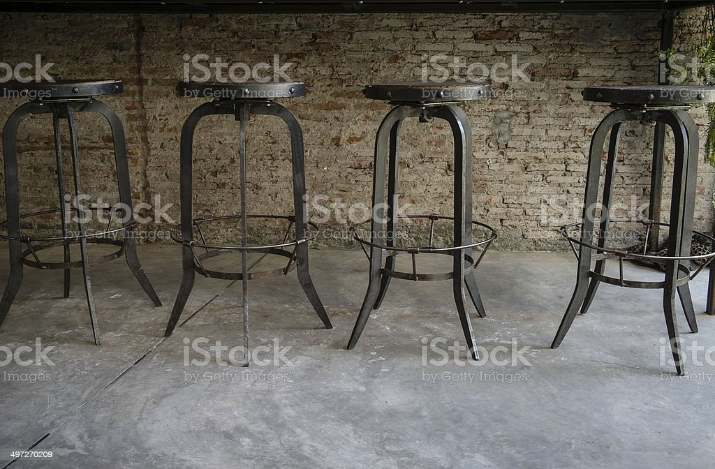 Wood and Metal Chairs stock photo