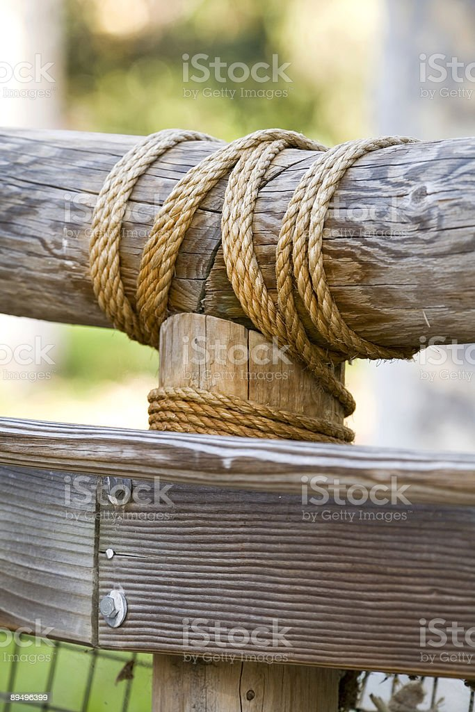 In legno e corda parete (dettaglio foto stock royalty-free