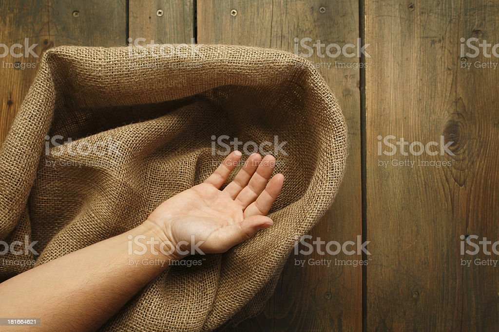 Wood and sackcloth texture royalty-free stock photo