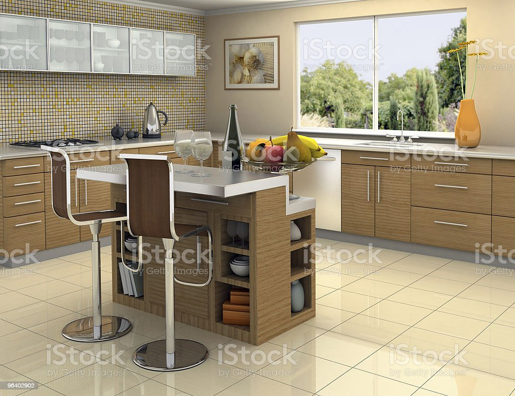 Wood and stainless steel kitchen - Royalty-free Apple - Fruit Stock Photo