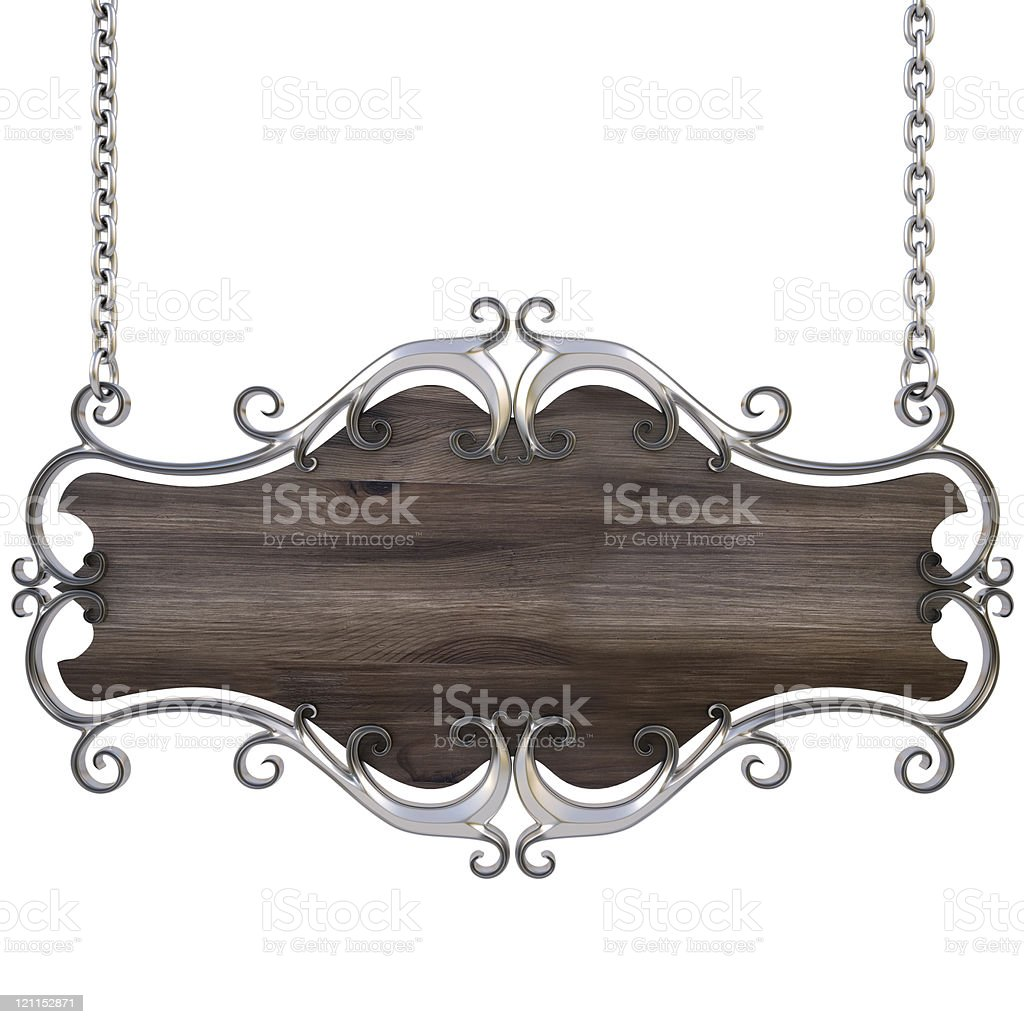 Wood and steel hanging blank ornate sign royalty-free stock photo
