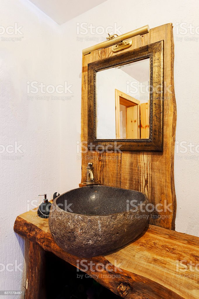 Wood and stone rustic sink