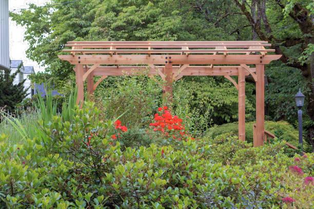 Wood arbor in house garden backyard lush landscaping picture id980569804?b=1&k=6&m=980569804&s=612x612&w=0&h=xwz52wffckwvrmpqqbrhxoj4voyc qy7w8jsicf z8i=