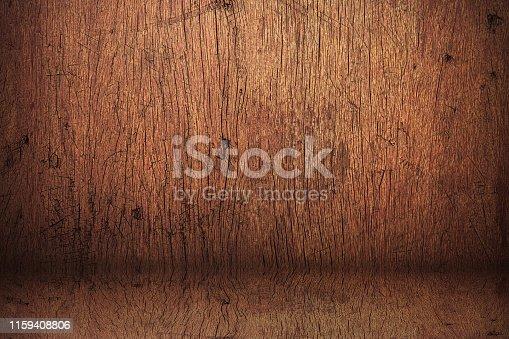 642100994istockphoto Wood backdrops background. Blank vintage studio made from wooden shelf. 1159408806