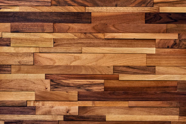 Wood background Wood background made of small boards of various size, color and wood type lacquered stock pictures, royalty-free photos & images