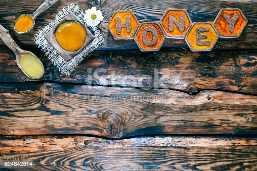 istock Wood background with honey title 824842514