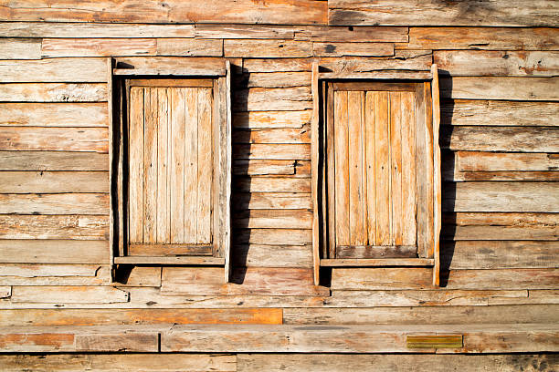 wood background with some windows stock photo