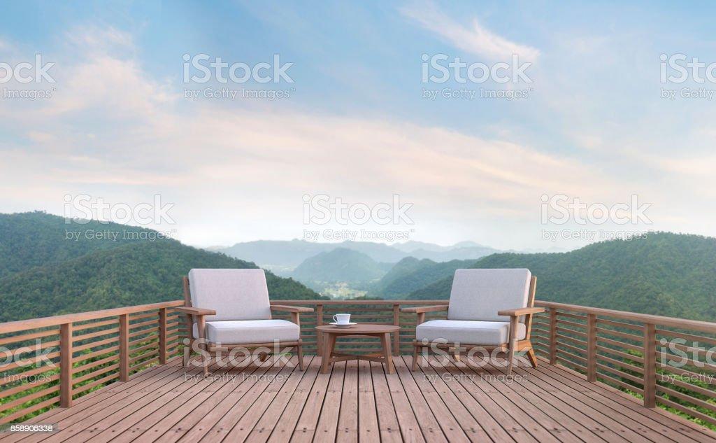 Balcón de madera con renderizado 3d de vistas a la montaña - foto de stock