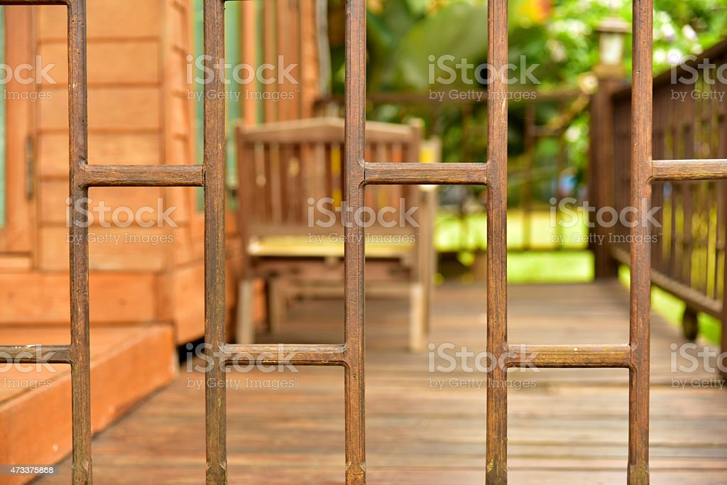 Wood balusters stock photo