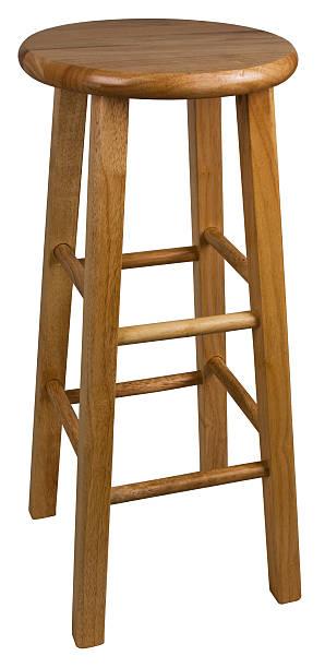 Wood Bar Stool stock photo