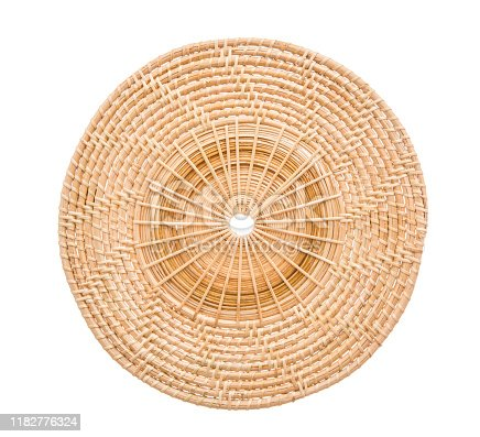 istock Wood basket wicker wooden in handmade 1182776324