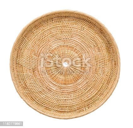 istock Wood basket wicker wooden in handmade 1182779861