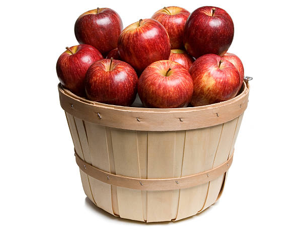 Wood basket with Red Apples stock photo