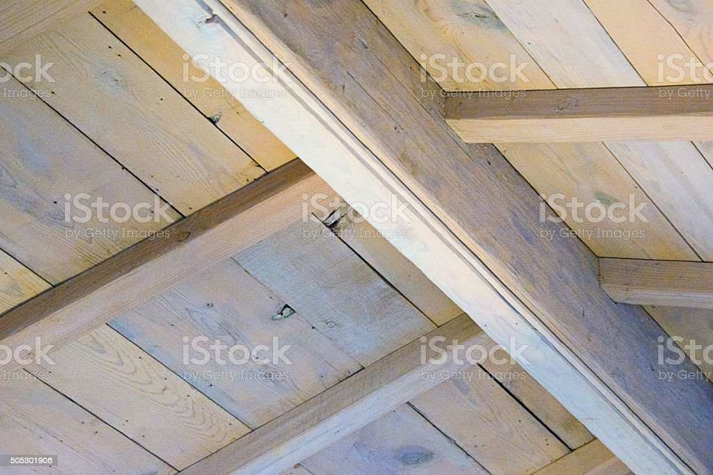 Wood Beam Ceiling, Gabel Roof Volume, Full Frame Image stock photo