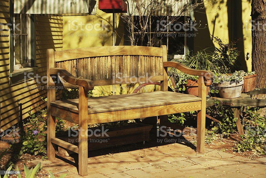 Wood Bench Cottage Decor royalty-free stock photo