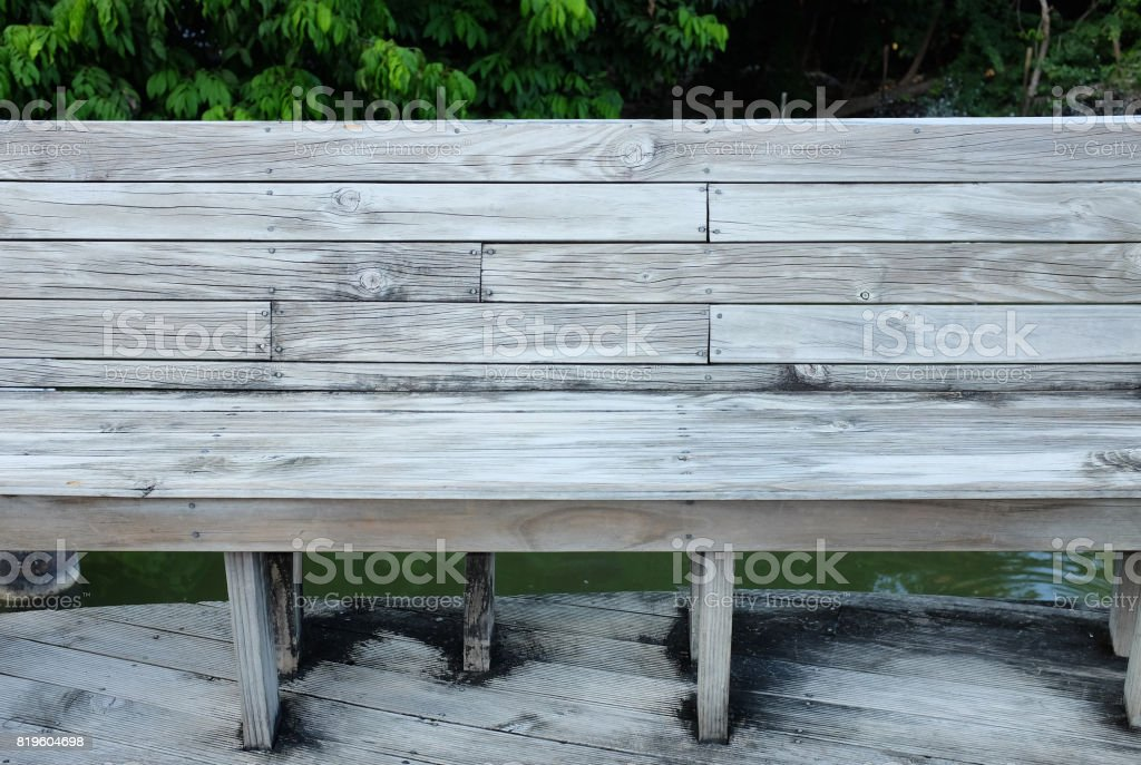 wood bench in pavilion. stock photo